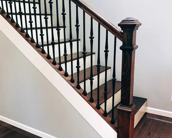 Choosing Wood Or Wrought Iron Balusters For Your Home | Iron Railing With Wood Handrail | Stair Systems | Stair Parts | Metal | Stair | Staircase