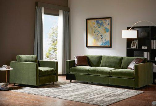 Ewing Green Velvet Sofa