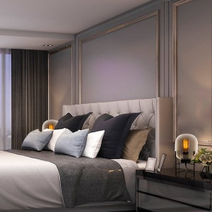 quarto moderno com abajures com cúpula de vidro