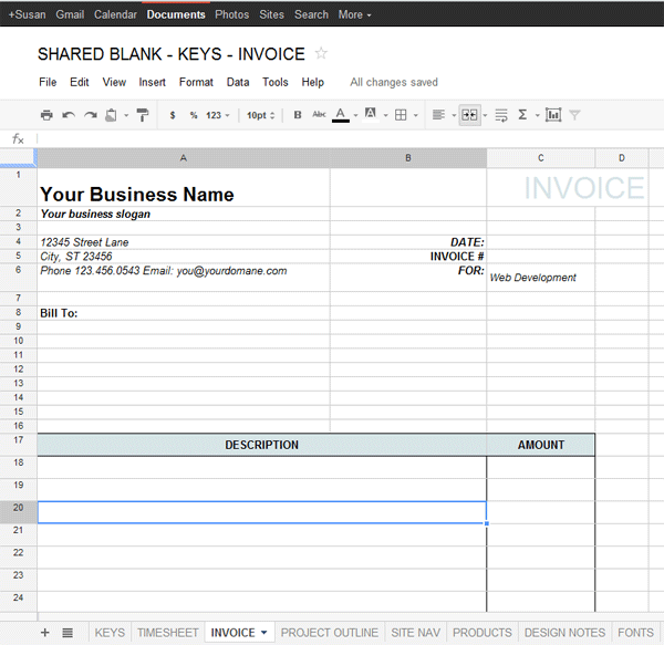 Google Docs Template for Freelance – Data & Project