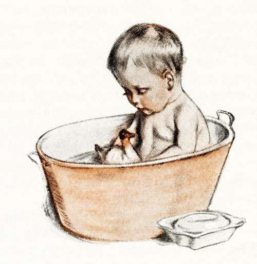 Free Vintage Image, Vintage Baby Illustrations, Vintage baby in bath illustration image