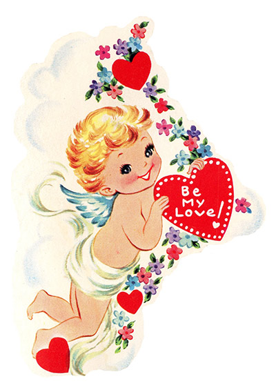 Vintage Cupid with Heart & Flowers