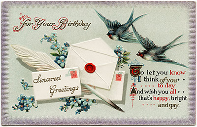 Free Vintage Birthday Card with Birds