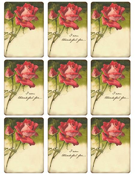 Free Vintage Rose Floral Tags