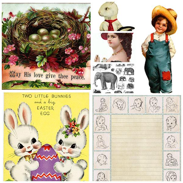 vintage clipart for easter, vintage easter cards, baby birth vintage certificate