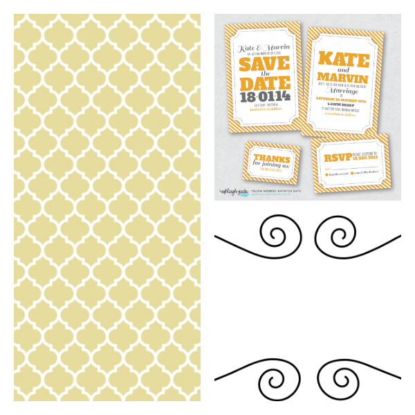 curly frame, doodle frame, save the date, quatrefoil background