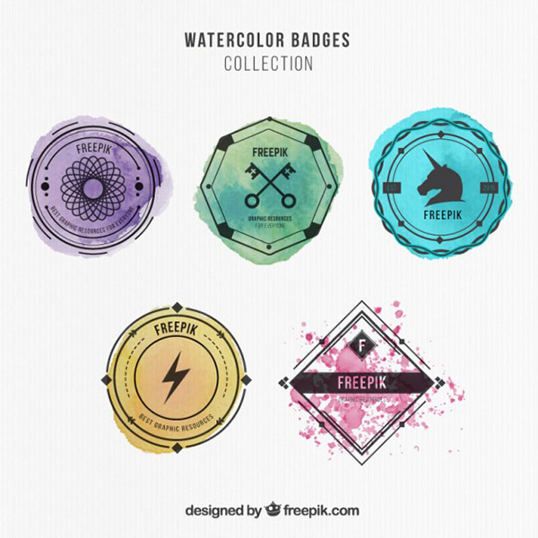 Royalty Free Vector Art - Hipster Watercolor Badges