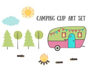 Royalty Free Images - Camping Clip Art Set