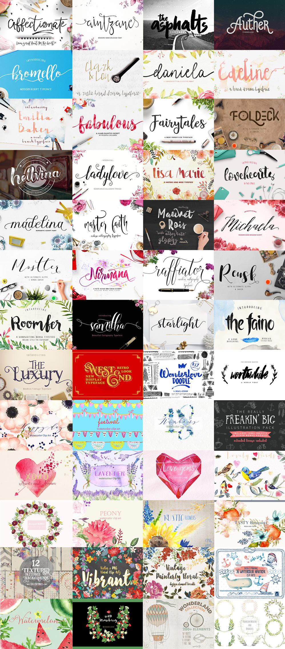 Coupon Code for 20% More Off Graphic Arts Bundle for February --- discount graphic design resources, graphic design elements, brush fonts, hand drawn fonts,