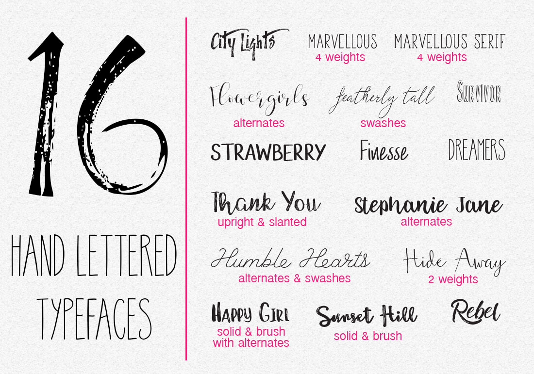hand lettering bundle fonts