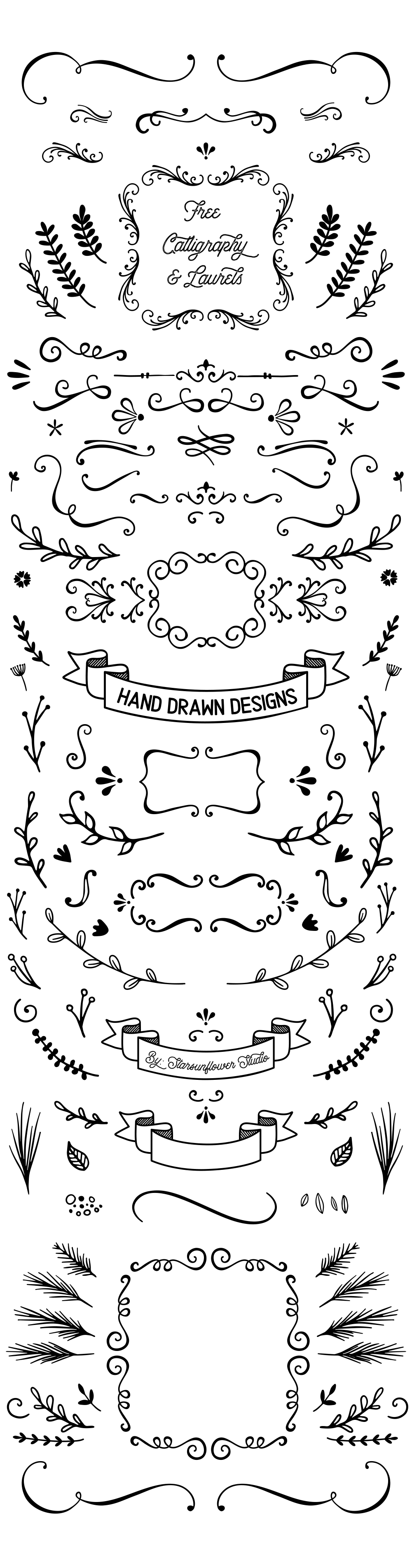 Free Doodle Frames, Laurels and Calligraphy Shapes