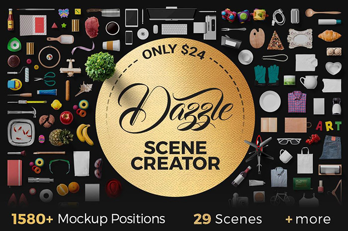 Dazzle-Mockup Scene Creator with 1500+ Mockup Positions, 30+ Ready-Made Scenes & more