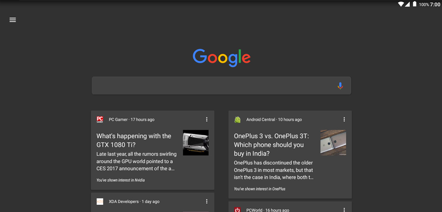 google dark theme