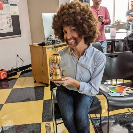 Betsy Parker as Bob Ross, 2019 Best Individual Halloween Costume Winner