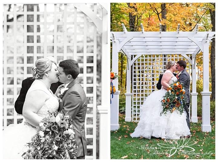 temple's-sugar-bush-fall-wedding-stephanie-beach-photography-ceremony-kiss-bride-groom