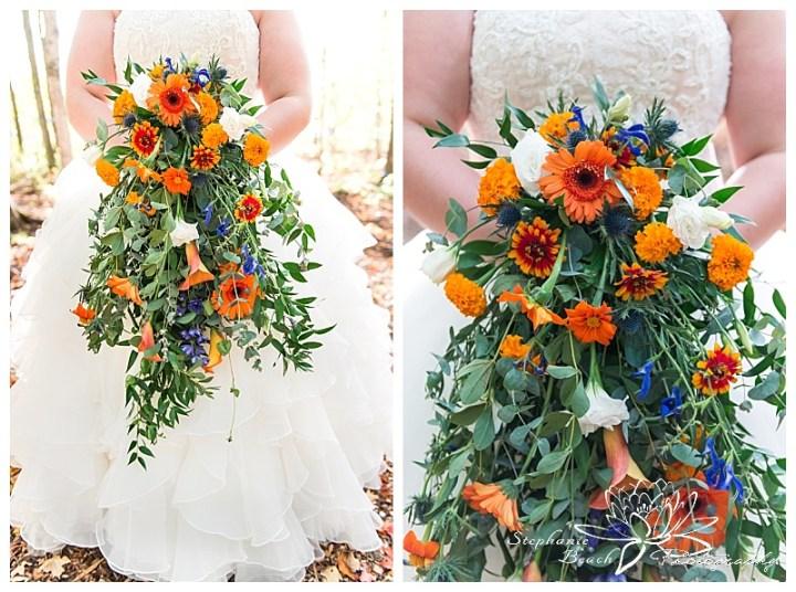 temple's-sugar-bush-fall-wedding-stephanie-beach-photography-bride-portrait-cascading-bouquet