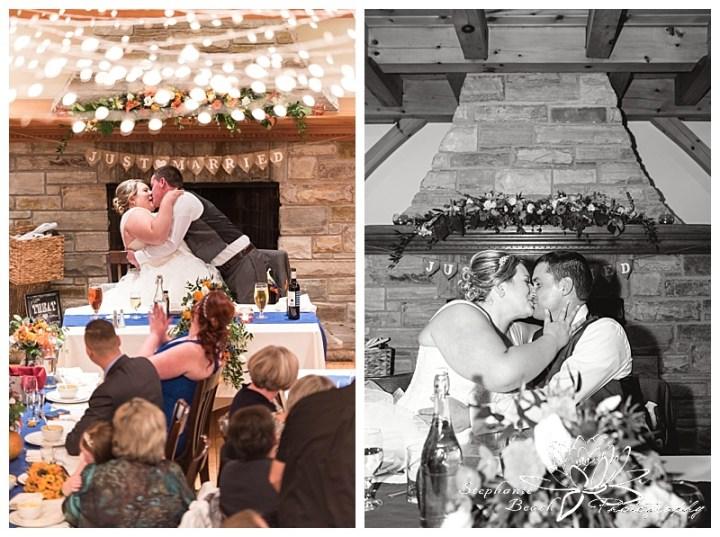 temple's-sugar-bush-fall-wedding-stephanie-beach-photography-reception-kiss-bride-groom