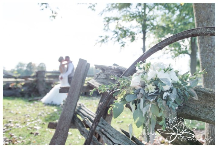 Stanleys-Olde-Maple-Lane-Farm-Wedding-Stephanie-Beach-Photography-bride-groom-fence-bouquet