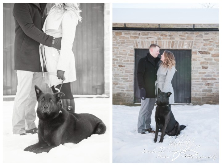 Merrickville-Winter-Engagement-Session-Stephanie-Beach-Photography-Christmas-portrait-stone-building-ruins-dog