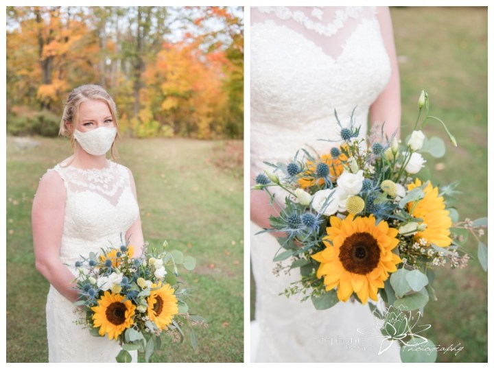 Ottawa-Fall-Backyard-Wedding-Stephanie-Beach-Photography-bride-facemask-sunflower-bouquet