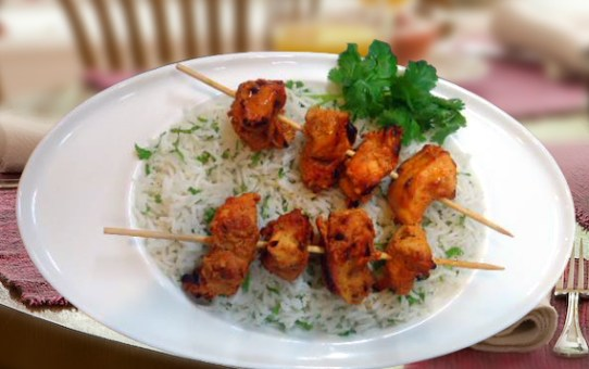 Chicken Tikka On The Bed Of Herb Butter Rice