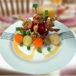 Garlic & Cilantro Braised Tiger Prawns in Honey Mustard Sauce