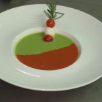 Dual Soup of Hot & Cold (Tomato Gazpacho & Asparagus with Green Peas)