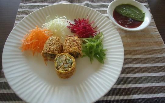 Image Name - paneer papad roll recipes