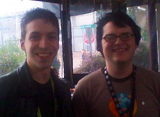 John Resig (right) and I at Moonshine Grill