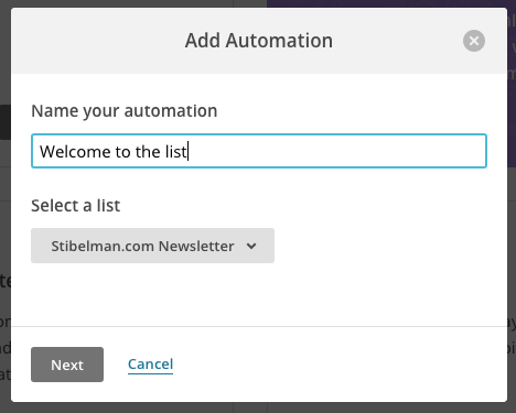 Mailchimp - automation name and list