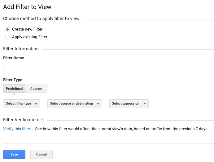 New Google Analytics Filter