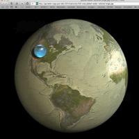 Die Wassermenge der Erde als Volumen im Vergleich zum Volumen der Erde