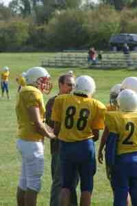 7th and 8th graders football practice at St. Joseph's Indian School.
