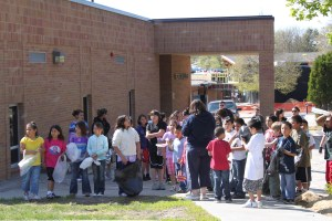 Native American students getting lined up for an Easter Egg Hunt.
