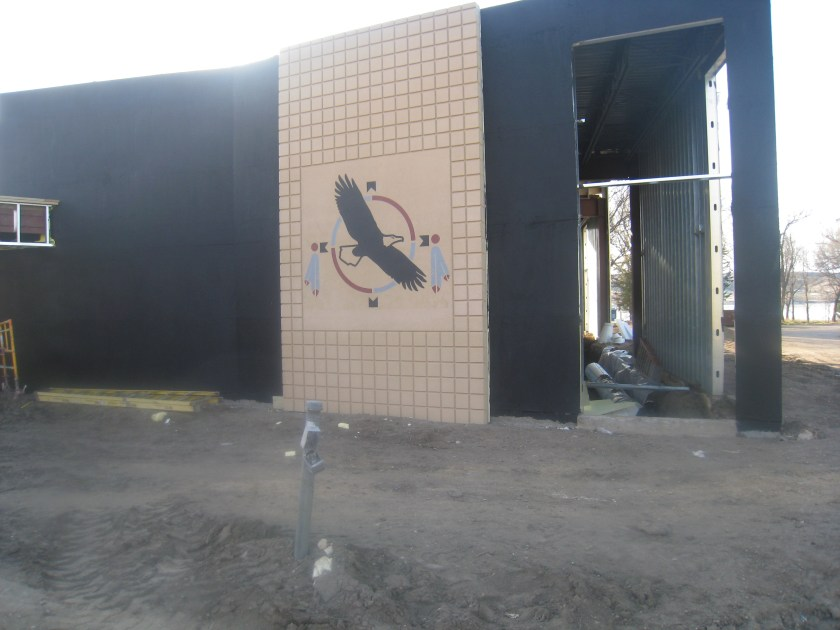 March 2012 – precast artwork is installed on the exterior of the Historical Center building.