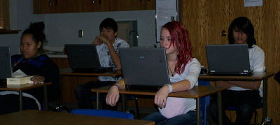The Lakota students at St. Joseph's use computers to complete their MAPS tests.