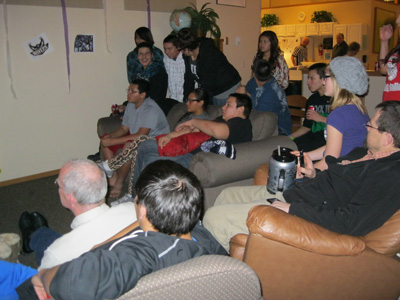 St. Joseph's Super Bowl party quieted down during halftime.