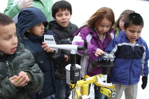 The Lakota children got to see portable weather stations used to measure conditions during tornadoes.
