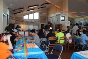 St. Joseph's Lakota students enjoy a Super Bowl party.