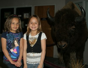 The Lakota children can see a life-sized buffalo in one of the museum's displays!