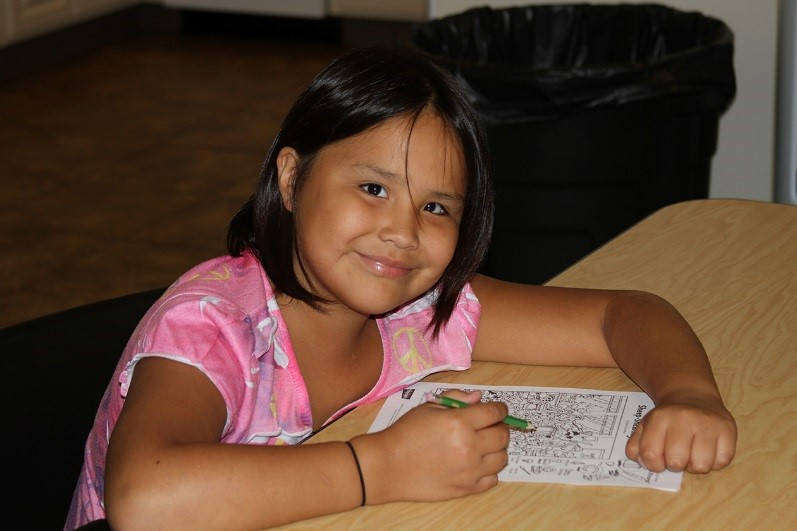 A female student works on her homework assignment.