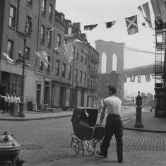 Father at the Brooklyn Bridge, Sunday Morning, Lower East Side, New York City, 1947 by Fritz Henle