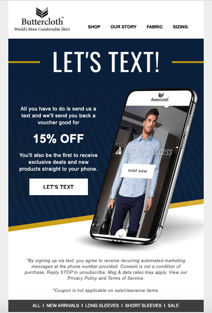 email example for sms marketing