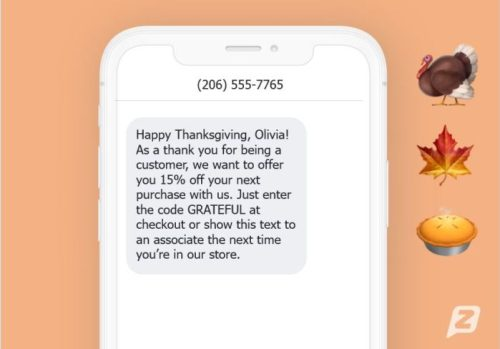 thanksgiving text message example online store