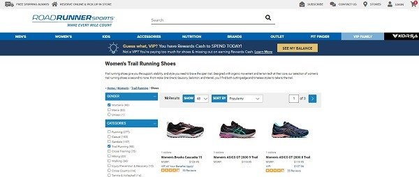 example of running shoes store roadrunner sports