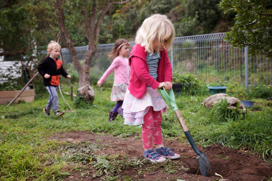 A young girl using a shovel to dig a hole for a vegetable garden