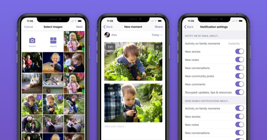 Storypark family app