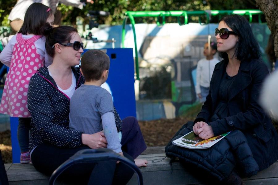 parents talking on playground