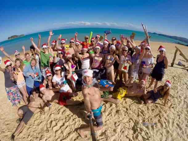 Beach party after Secret Santa in Abel Tasman