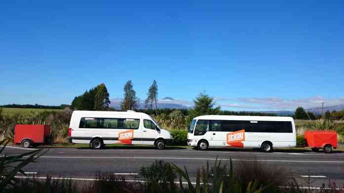 Stray buses in Tongariro National Park in autumn